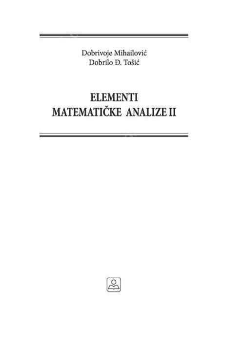 ELEMENTI MATEMATIČKE ANALIZE II