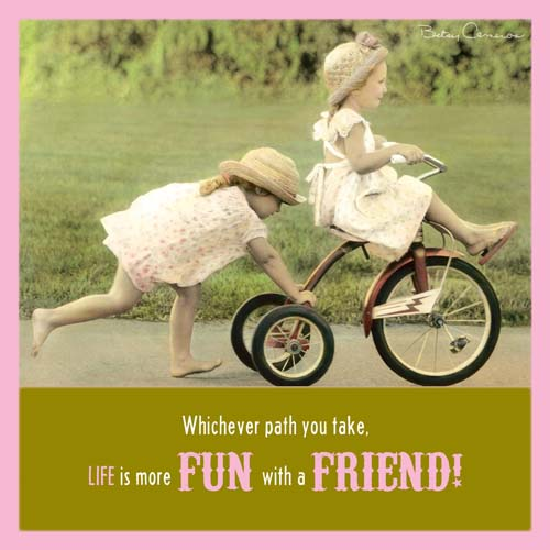 BETSY CAMERON SQR GREETING CARD TWO GIRLS WITH TRICYCLE