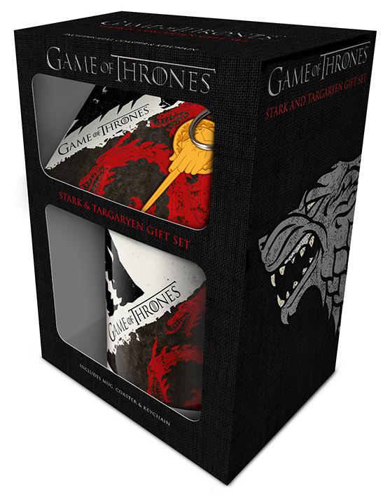 Set (šolja, podmetač i privezak) GAME OF THRONES Stark and Targaryen