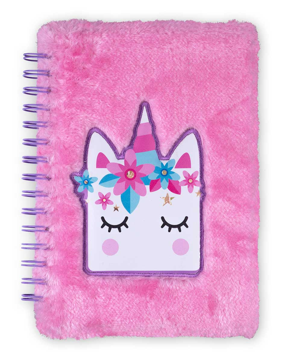 Plišani notes sa spiralom FUZZY Unicorn pink