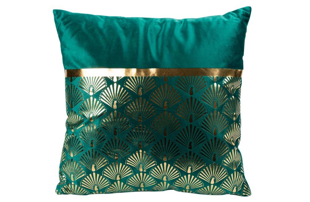 Jastuk CUSHION VELVET GREEN GOLD 40X40CM