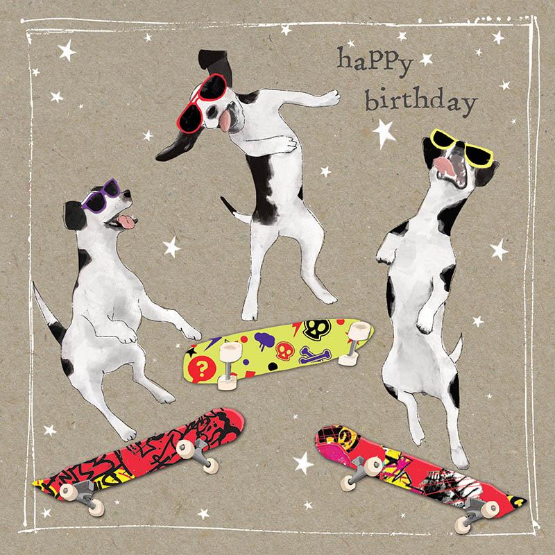Rođendanska Čestitka FANCY PANTS THREE SKATE DOGS