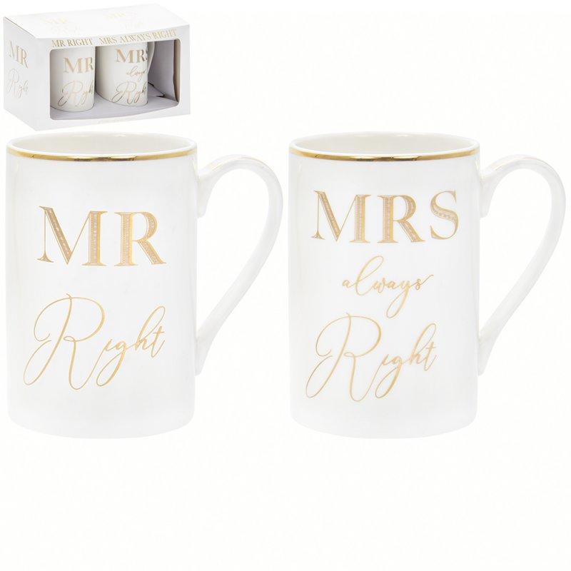 Set od dve šoljei MR & MRS RIGHT Gold