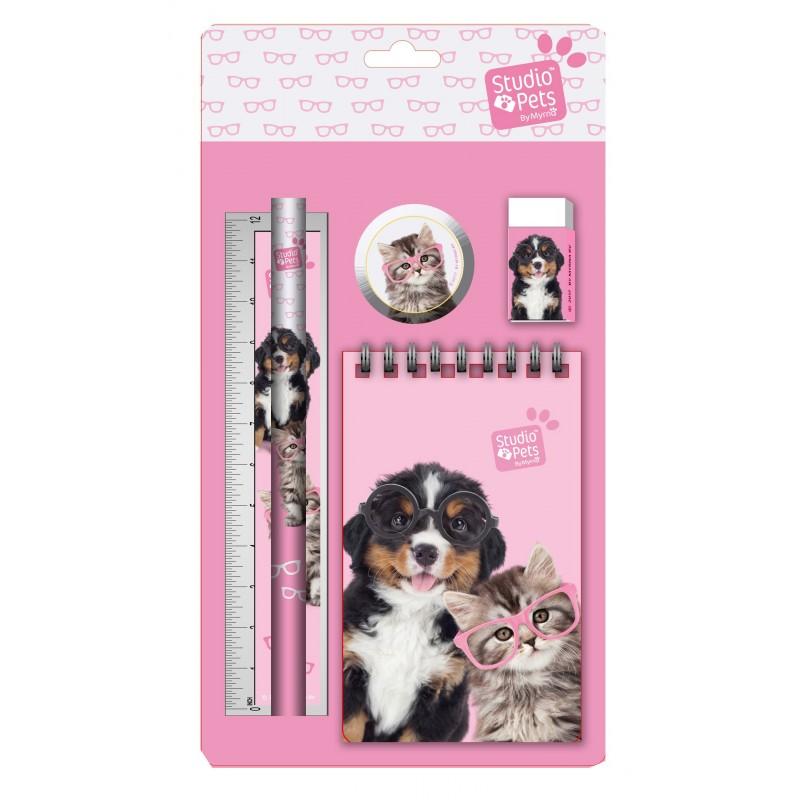 Školski set SET STUDIO Dog & Cat pink