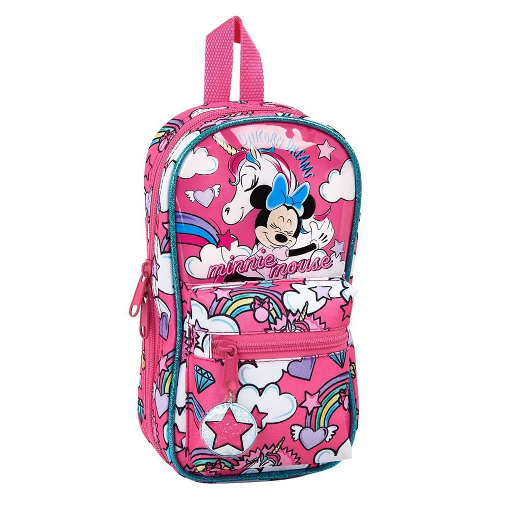 Torbica PENCIL CASE BACKPACK WITH 4 EMPTY CASES MINNIE MOUSE UNICORNS