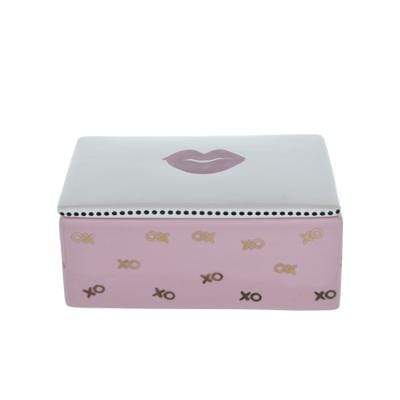 Kutija za nakit i sitnice - pink/zlatna : LIPS