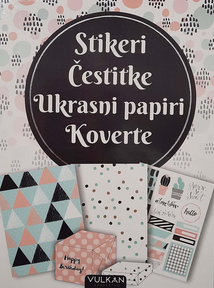 DIY SET - STIKERI, ČESTITKE, UKRASNI PAPIR, KOVERTE