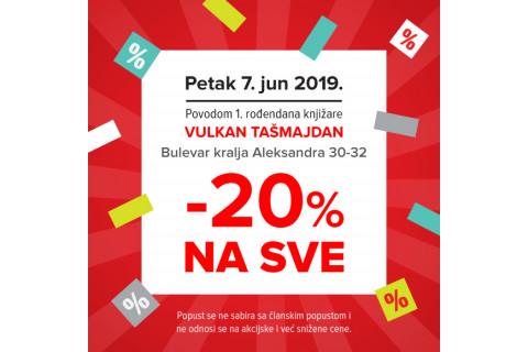Prvi rođendan knjižare Tašmajdan - 20% popusta 7. juna