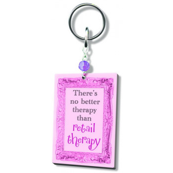WORD ACRYLIC KEYRING RETAIL THERAPY