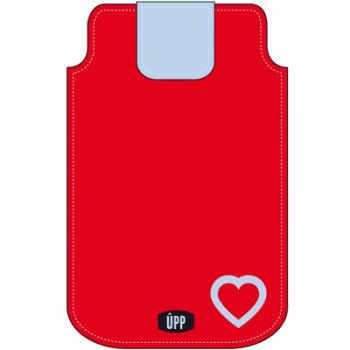 PHONE POUCH BLUE HEART ON RED