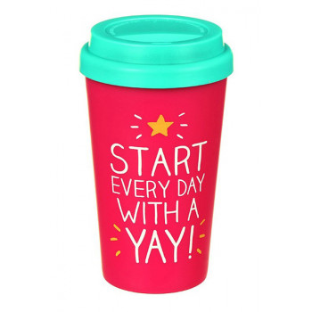 START EVERYDAY WITH A YAY TRAVEL MUG