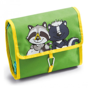 COSMETIC POUCH SKUNK AND RACCOON 21X18CM CLOSED