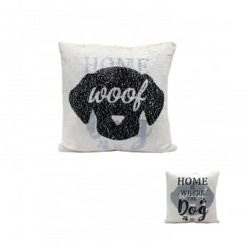 DOG SEQUIN CUSHION
