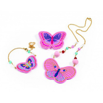 JEWELLERY SET<br />  EMBROIDERED JEWELS BUTTERFLIES