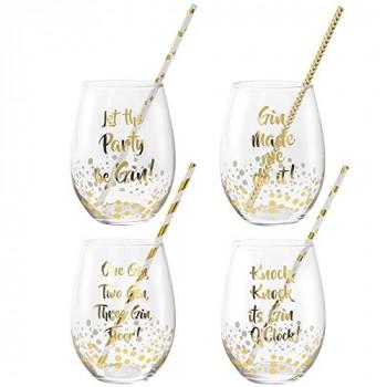 Čaše GOLD STEMLESS GLASS SET 4