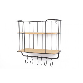 Polica WALL RACK 43X20X31 2SHELFS+6XHOOK