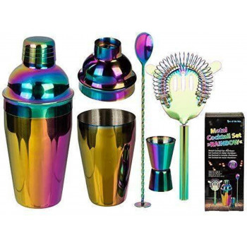 Set za Koktele METAL COCKTAIL SET RAINBOW SET OF 4 SHAKER FOR CA 550 ML
