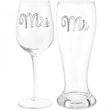 MR & MRS Čaše za pivo i vino