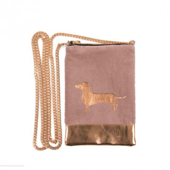 Torba CELLY BAG PU 12X17CM CROSSOVER ROSE GOLD WITH DOG