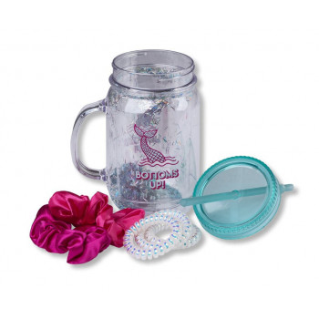 GIFT Set PLASTIC MASON JAR W HAIR TIES