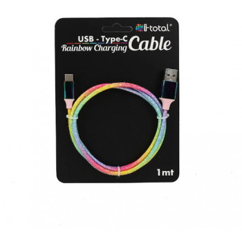 USB Kabl FABRIC CABLE RAINBOW TYPE C