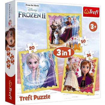 Puzzle 3 u 1 TREFL Frozen 2 Anna and Elsa power