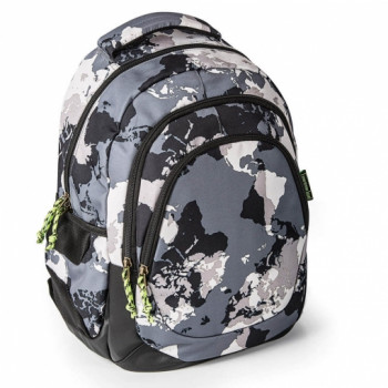 BACKPACK W/THREE COMPARTMENTS REINFORCED WORLD MAP MR
