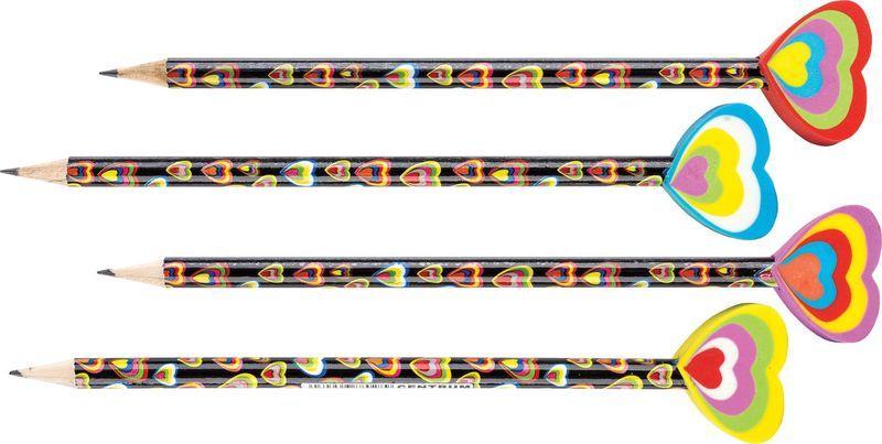Drvena olovka 88028 SA GUMICOM U OBLIKU SRCA