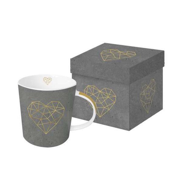 Šolja u poklon kutiji GEOMETRIC HEART cement real gold