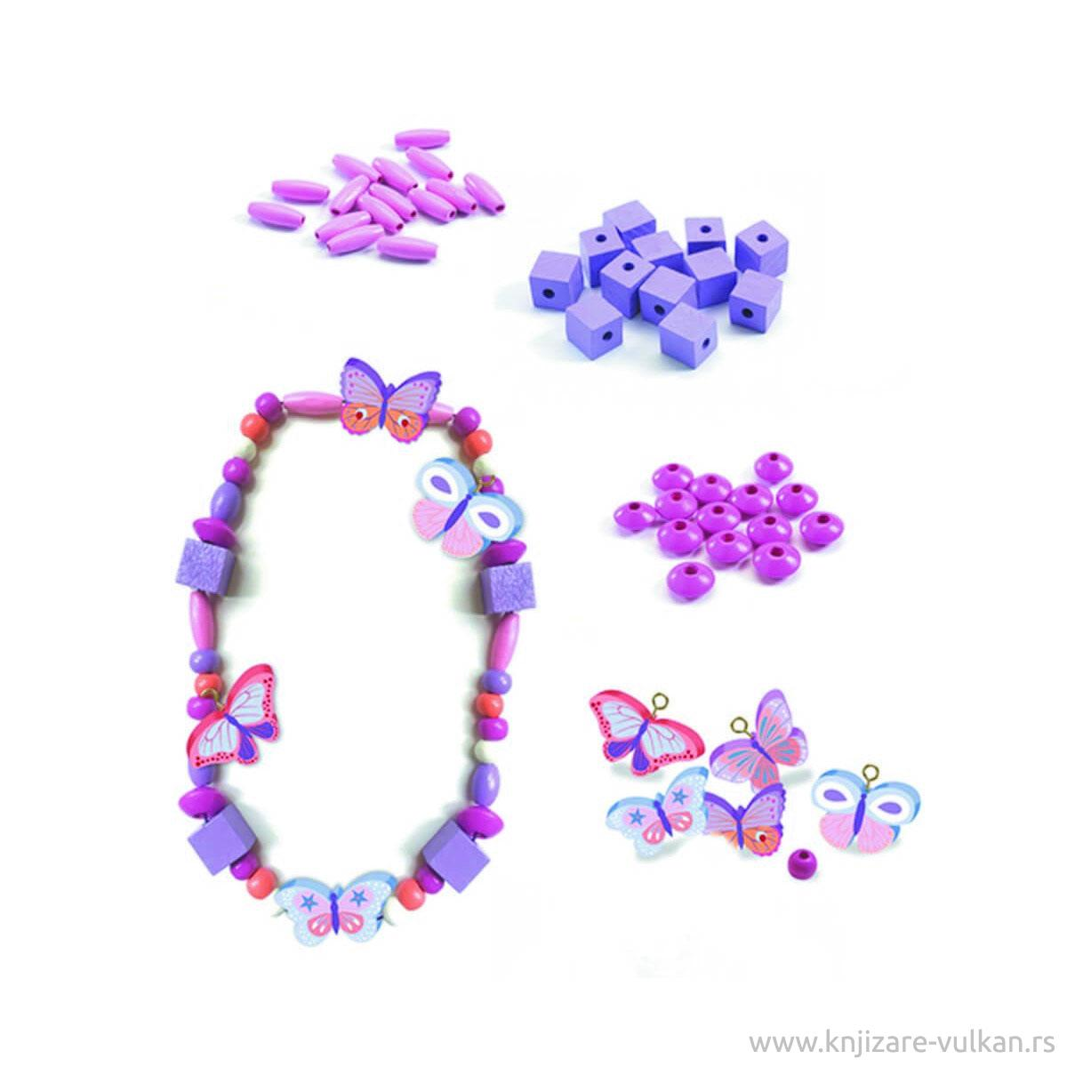 Kreativni Set OH LES PERLES WOODEN BEADS, BUTTERFLIES