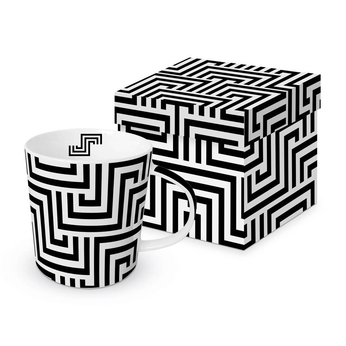 Šolja u poklon kutiji SQUARED LINES BLACK