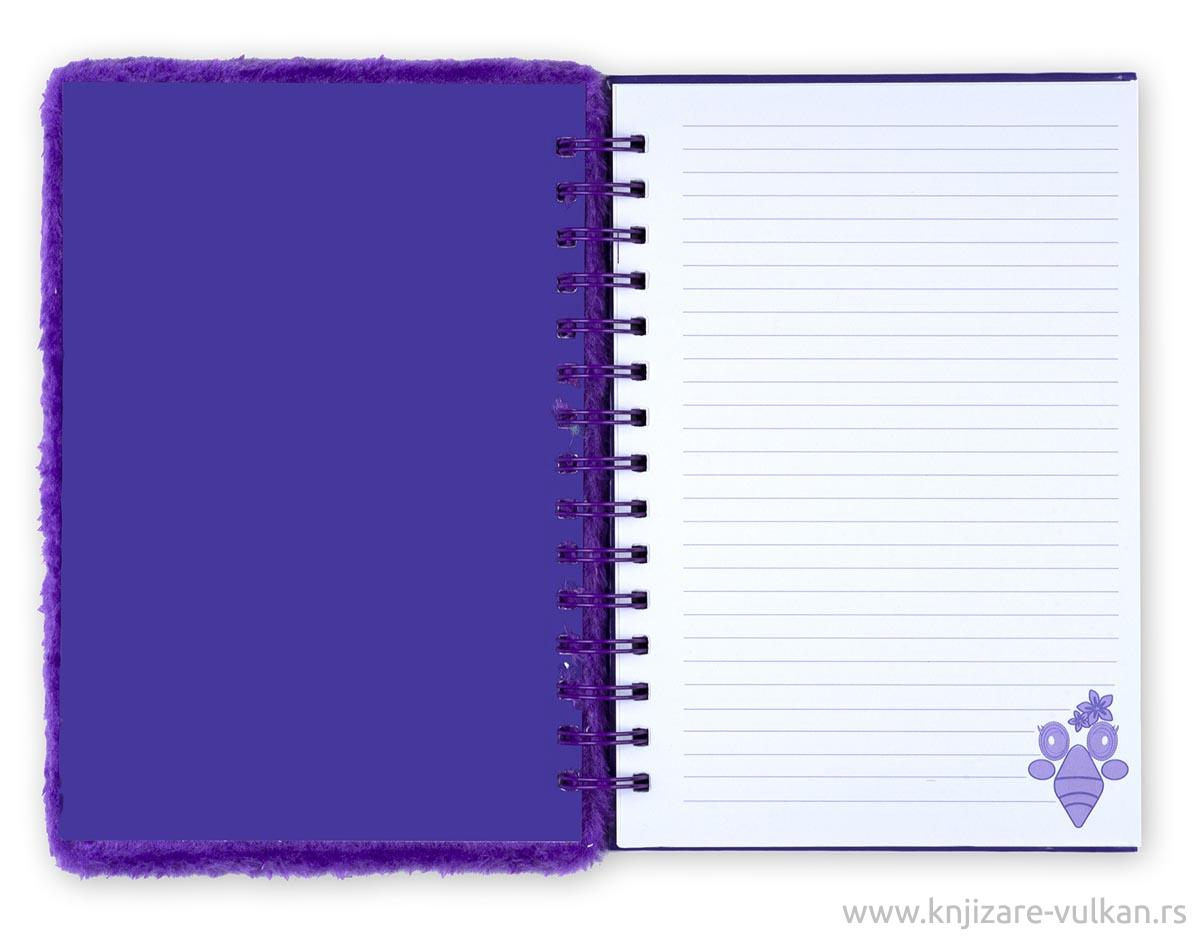 Plišani notes sa spiralom FUZZY JOURNAL Violet