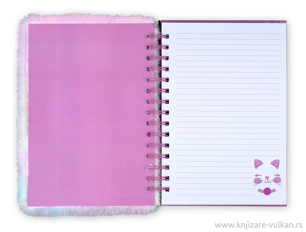 Plišani notes sa spiralom FUZZY JOURNAL Pink