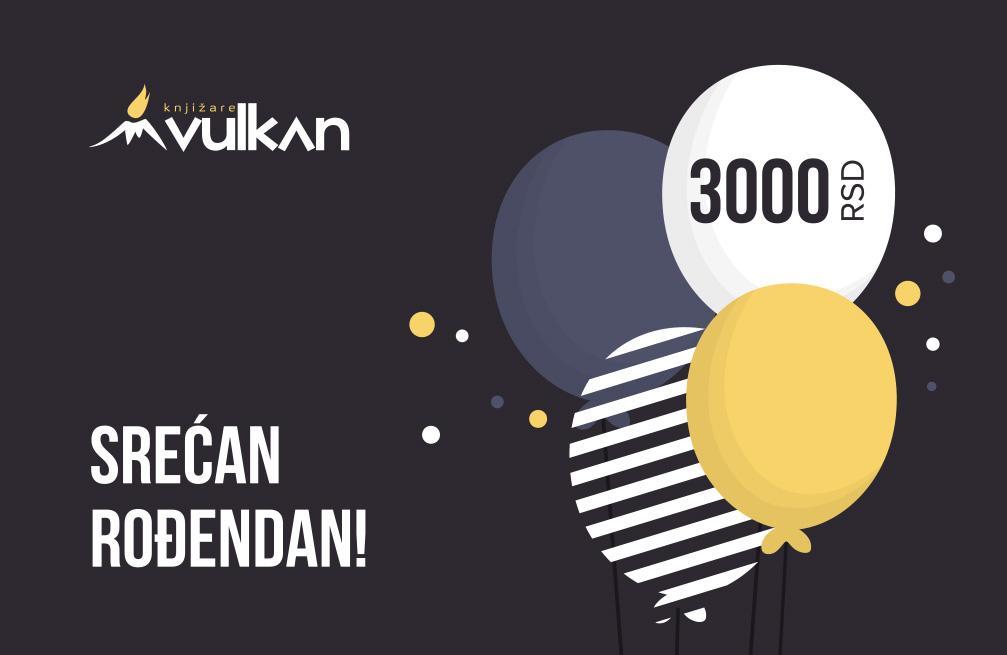 GIFT KARTICA/VAUČER Srećan rođendan Black 3000