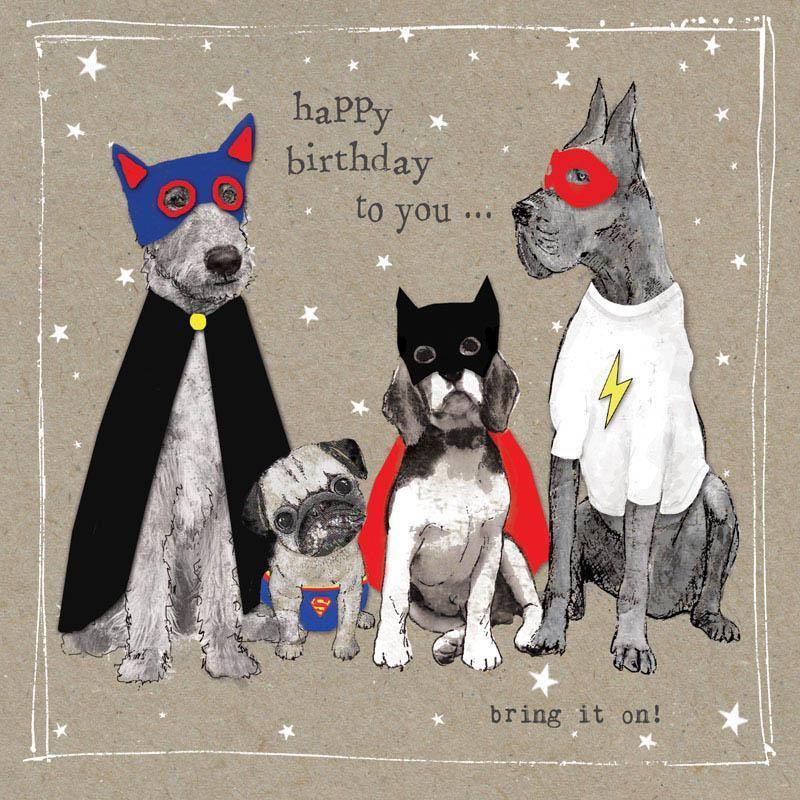 Rođendanska Čestitka FANCY PANTS FOUR SUPERHERO DOGS