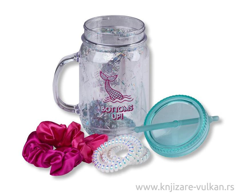 GIFT Set PLASTIC MASON JAR W HAIR TIES