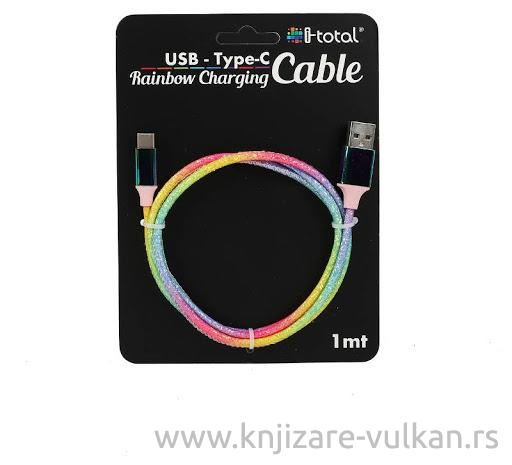 USB Kabl FABRIC CABLE RAINBOW TYPE C