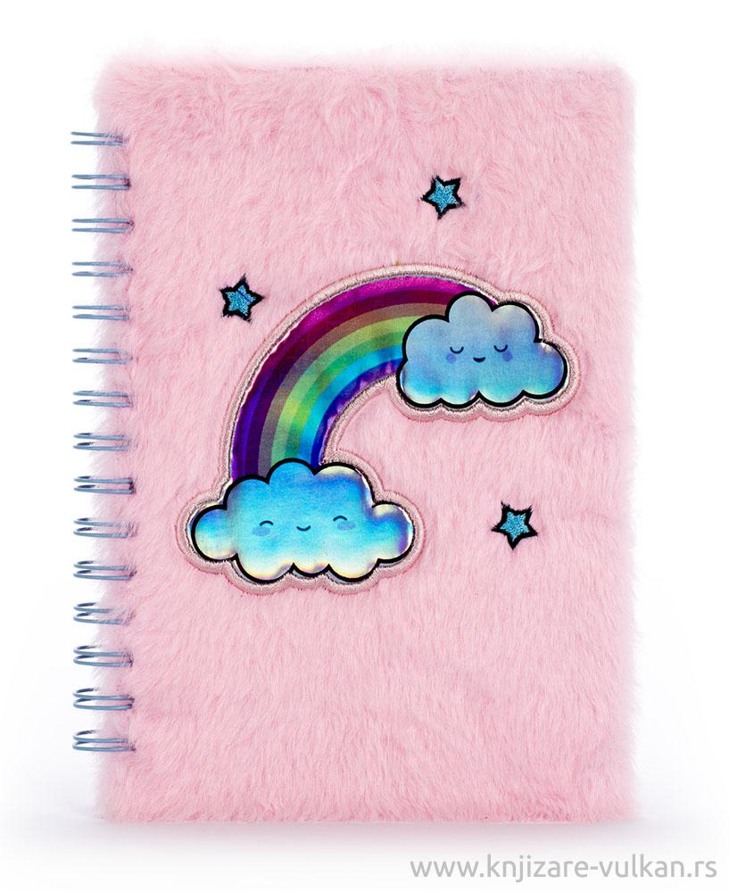 Notes plišani RAINBOW LOCKET FURRY Pink