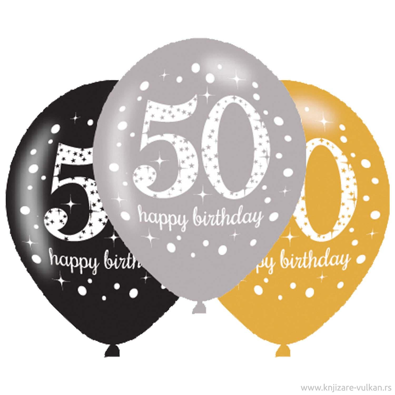 Baloni HAPPYBIRTHDAY 50 PINK