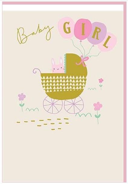 Čestitka BABY GIRL PINK STROLLER