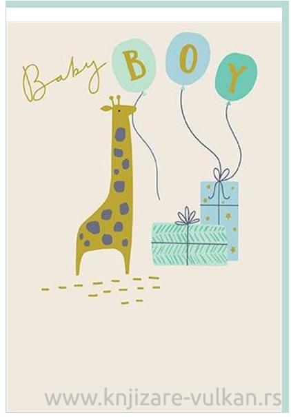 Čestitka BABY BOY GIRAFFE