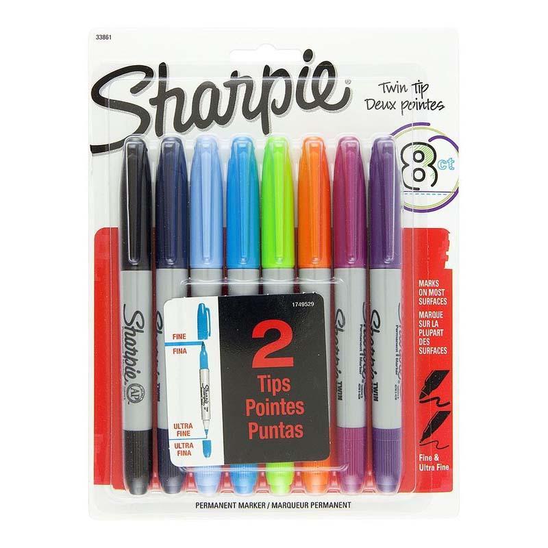 SHARPIE set markera TWIN TIP 8/1